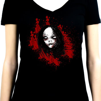 Bloody Vampire Death Bound Women's V-Neck Shirt Top Horror Occult