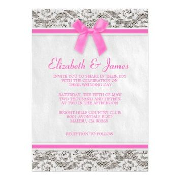 Hot Pink Country Lace Wedding Invitations