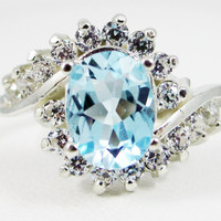 Sky Blue Topaz and CZ Swirl Ring Sterling Silver 925, December Birthstone Ring, Oval Sky Blue Topaz Ring, Halo Ring, Engagement Ring