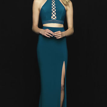 Racer-Neck Halter Two-Piece Prom Dress