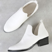 Bead Chain Trim V Cut Ankle Bootie WHITE | MakeMeChic.COM