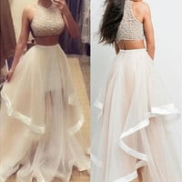 2015 Sexy hot Champagne Two Piece Prom Dresses Women Long Evening Party Dress [9221448964]