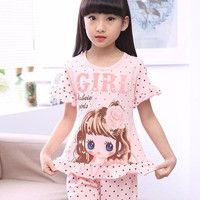 Cotton Blend Cartoon Print Sleepwear