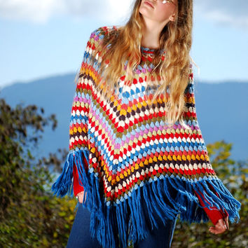 RAINBOW Crochet Poncho Cape, Vintage Hippie Boho Poncho, Lace Front Fringed Poncho, Hand knit Fringe Afghan Shawl, Fall Festival Top