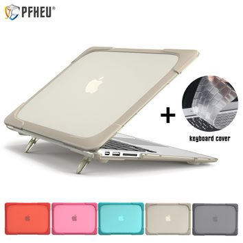 New Shockproof Hard Plastic Case with Foldable Stand For Macbook Air Pro 11 12 13 15 inch For New Air 13 A1932 + keyboard cover