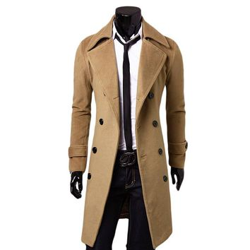 New Hot Men's Long Spring Wool Blend Trench Coat