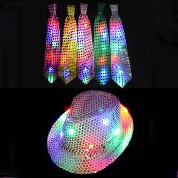 CREY6F 2017 NEW Woman Man Kids Sequins Light LED Neck Tie Hip Hop Jazz Hats Cap Flashing Party Supplies Wedding Halloween Christmas
