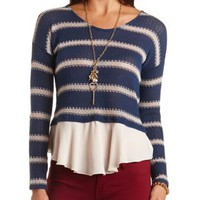 Striped Mixed Media Top by Charlotte Russe - Navy Combo