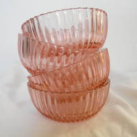 VINTAGE glass bowls small glass bowl dessert bowls 1930 Fortune Pattern Hocking clear glass pastel pink serving bowl ice cream fruit salad