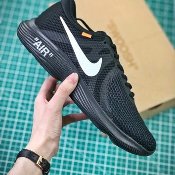 Off White X Nike Revolution 4 Black Sport Running Shoes - Best Online Sale