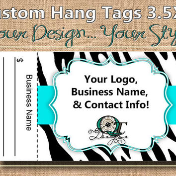 Blue Zebra Print Custom Hang Tag Business Card Style Printing  Matte  3.5 x 2 inch cards Design services available Sales Tags Shop Tags