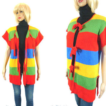Vintage 70's Colorblock Sweater, Primary Color Cardigan Long Retro Front Tie Sweater Vest Coat Blazer Jacket Large Oversize Knit 60's