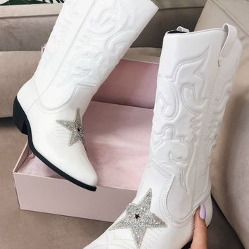 PRE-ORDER Star Light White Western Star Cowgirl Boots