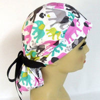 Women's Bouffant Scrub Hat or Cap Parading Elephants