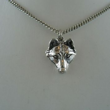 Wolf Pup Pendant Necklace in Solid White Bronze
