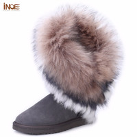 Real sheepskin leather suede fur lined winter boots rabbit fur tassels high snow boots for women winter shoes flats gray brown