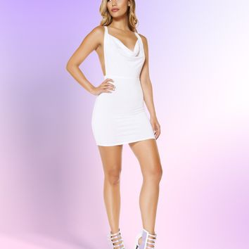 Roma 3350 Cowl Neck Mini Dress with Low Back