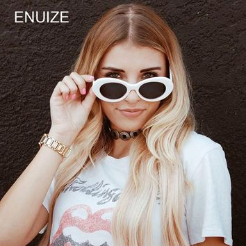 Vintage Unisex Brand Designer Women Sunglasses White Sun Glasses for Women Small Round Retro Ladies Eyewear Oval Shades UV400