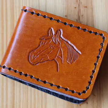 Horse Wallet, Hand Carved Leather Bifold Wallet, Hand Stitched Wallet, Horses Head Billfold, Leather Credit Card Wallet, Hand Tooled Wallet