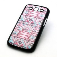 BLACK Snap On Case Samsung Galaxy S3 SIII i9300 S 3 III Plastic Cover - PINK AND BLUE MAYAN AZTEC pattern tribal american indian