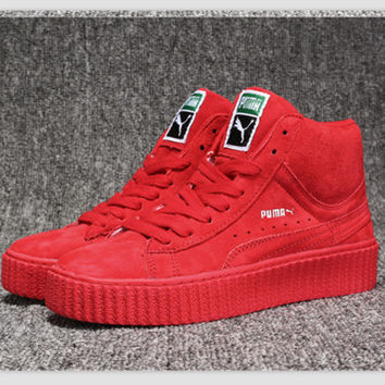 """""""Puma"""" Fashion Flats Skate Shoes Sneakers High tops Red"""