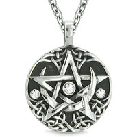 Amulet Pentacle Magic Super Star Celtic Flames Defense White Crystals Pentagram Pendant 18 Inch Necklace