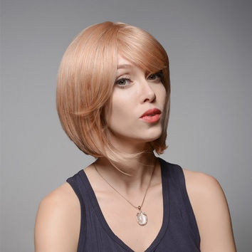 Blonde Short Straight Virgin Remy Side Bang Mono Top Capless Human Hair Wig 31cm 8 Colors