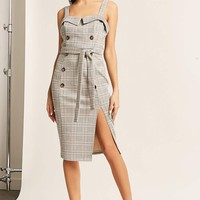 Glen Plaid Double-Breasted Midi Dress