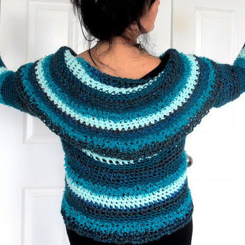 Reversible circle shrug, color block sweater blue and greens, designer crochet sweater shawl collar, FREE SHIPPING