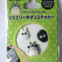 3D Totoro and susuwatari 3 pcs in 1 sheet Home Button Sticker for Iphone 4g/4s/5 Ipad2 Ipod