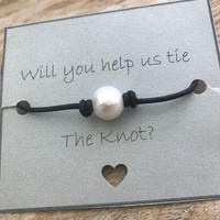 Bridesmaid gift, tie the knot bracelet, pearl bracelet, bridal shower gift, leather and pearls, bridesmaid jewelry