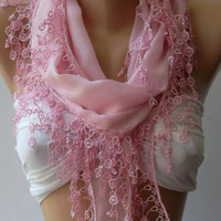 Pink - Cotton/ Traditional Turkish fabric -Anatolian Shawl/Scarf...