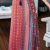 Red Folk Printed Split Maxi Skirt