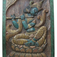 "Fluting Krishna Under Beautiful Leaf Hindu Yoga Sculpture Carving Hand Carved Wall Panels 36"" X 48"""