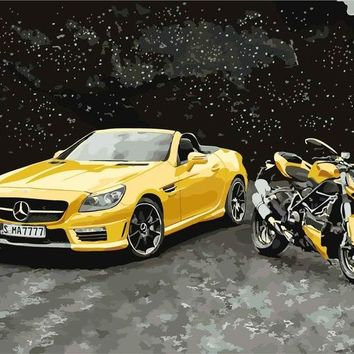 Yellow Mercedes and Motor Bike DIY Paint Numbers Kit: Includes Acrylic Paints, Brushes and Canvas