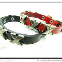 punk Cuff Bracelet Made Of Black soft leather Woven by sevenvsxiao