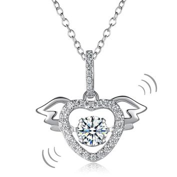 Heart Angel Wing Dancing Stone Pendant Necklace Solid 925 Sterling Silver Good for Wedding Bridesmaid Gift