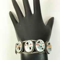 Zuni Sterling Silver Bracelet with Five Mother of Pearl Cabochons Inlaid with Shell, Turquoise, and Coral