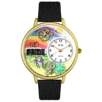 SheilaShrubs.com: Unisex Gay Pride Black Skin Leather Watch G-1110009 by Whimsical Watches: Watches