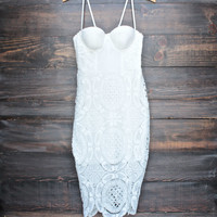 Lioness bustier midi lace dress in white