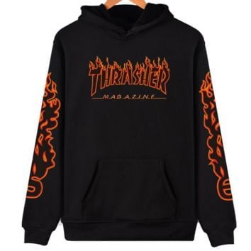 """Thrasher"" flame pattern loose hooded  sweater long-sleeved skateboard black Black red flame"