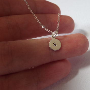 Tiny Letter Necklace- sterling silver- Initial- personalized letter necklace- Disc Initial Necklace, Small Hand stamped Charm