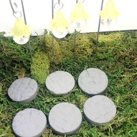 Fairy garden hanging lanterns and stepping stones. 10 piece set. Yellow fairy lights.