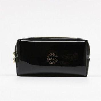 DCCKHG7 Quality PU leather Zipper Pillow Shaped Brand Cosmetic Bag Make Up Toiletry Bag Cosmetic Pouch Black trousse de maquillage