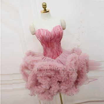 Robe de cocktail2016 new sexy sweetheart knee length fluffy pink black, white crystal feather cocktail dresses short