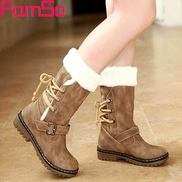 FAMSO Free shipping 2017 New Shoes Women Boots  Designer Ladies Winter outdoor keep Warm Fur Boots Waterproof Women's Snow Boots