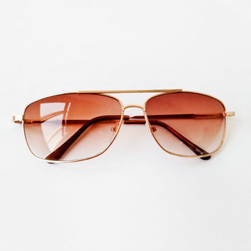 VTG 1980's Rocker Ombre Brown Lens in Gold frame square Aviator Sunglasses - Eyewear - party beach - eyeglasses - Hang over