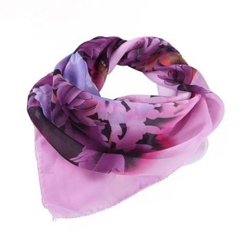 Feitong Fashion Chiffon Square Scarf For Women 60*60cm Flower Printing Profession Head Wrap Kerchief Neck Shawl hijab scarf