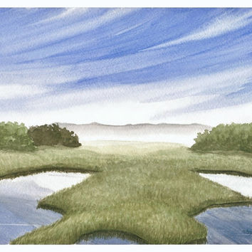 "Wetland Landscape Archival Print - Fine Art Reproduction of Original Salt Marsh Watercolor, Blue Sky and Green Grass Art,  8.5"" X 11"""