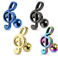 Treble Clef Music Note Tragus/cartilage Piercing Stud Ion Plated Over 316l Surgical Steel, Rainbow, Each Sold Individually